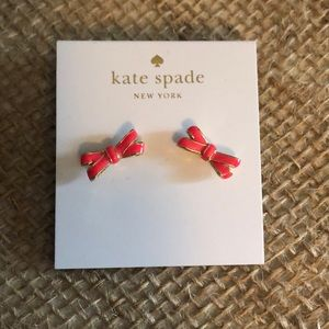 Kate spade coral and gold bow post earrings